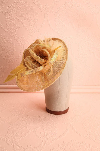 Mélilot Or Golden Woven Straw Fascinator | Boudoir 1861