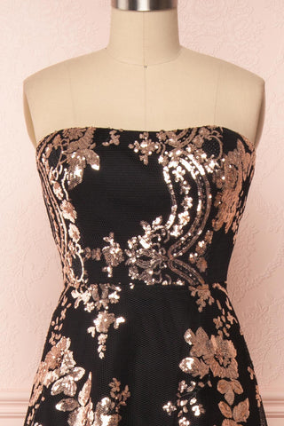 Melisandre Black Sequins Maxi Bustier Dress | Boutique 1861 front close-up