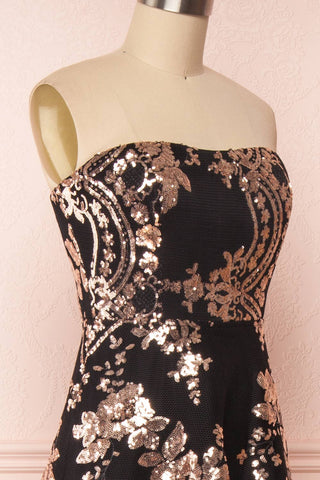Melisandre Black Sequins Maxi Bustier Dress | Boutique 1861 side close-up