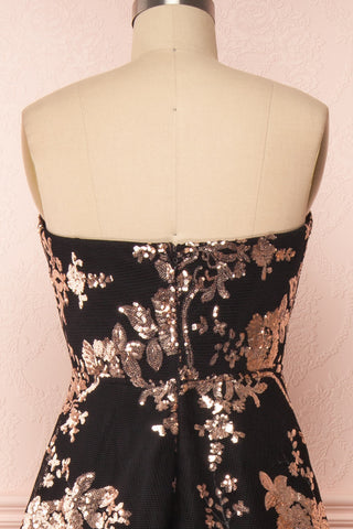Melisandre Black Sequins Maxi Bustier Dress | Boutique 1861 back close-up