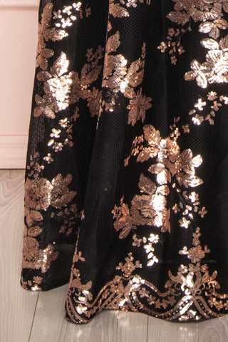 Melisandre Black Sequins Maxi Bustier Dress | Boutique 1861 bottom close-up