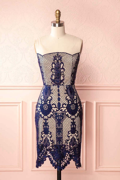 Mella Blue Crocheted Lace Open Back Cocktail Dress | Boutique 1861