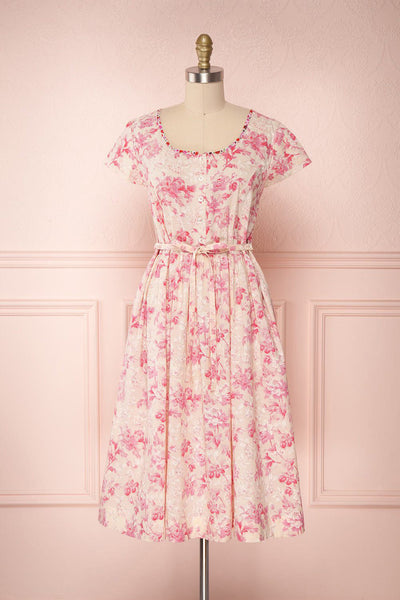 Merenui Pink Floral Button-Up Summer Dress | Boutique 1861