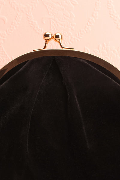Merlini Black Velvet Clutch | Pochette Noire | Boutique 1861 front close-up