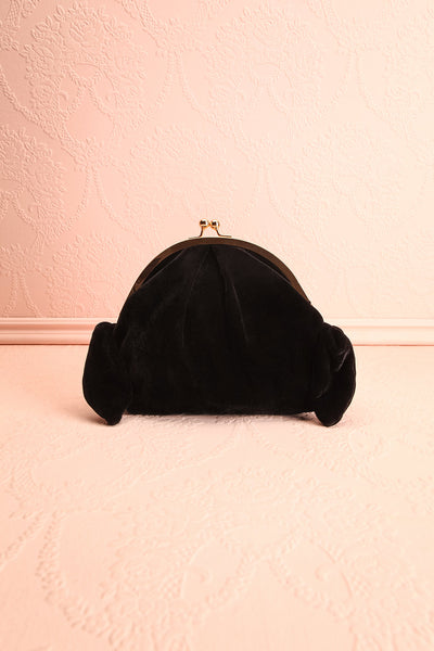 Merlini Black Velvet Clutch | Pochette Noire | Boutique 1861 front view