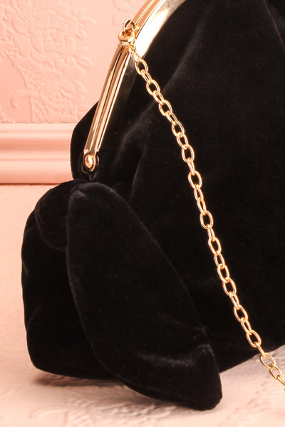 Merlini Black Velvet Clutch | Pochette Noire | Boutique 1861 side close-up