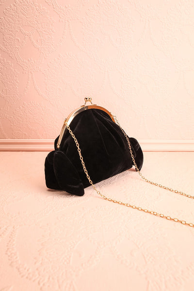 Merlini Black Velvet Clutch | Pochette Noire | Boutique 1861 side view