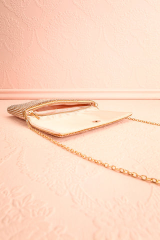 Meryt Rose Gold Crystal Clutch | Sac à Main | Boutique 1861 inside view