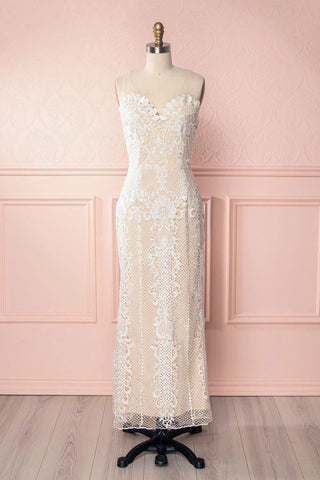 Micheline Ivory Lace Midi Bridal Dress front view | Boudoir 1861