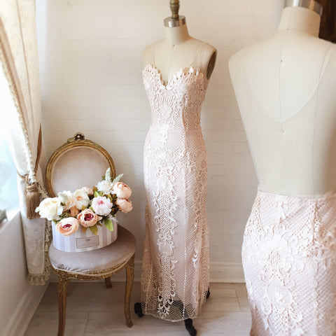Micheline Blush Lace Midi Bridal Dress | Boudoir 1861