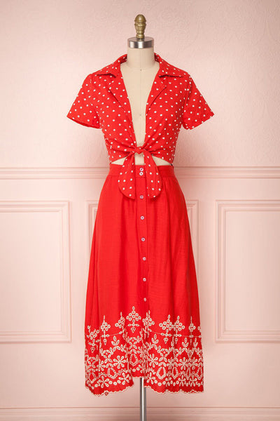 Mickie Red 50s Inspired Tied Neckline A-Line Dress | Boutique 1861