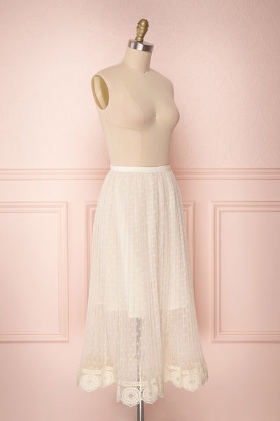 Mihiroa Cream Pleated Mesh Polka Dot Skirt | Boutique 1861 4