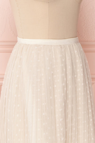 Mihiroa Cream Pleated Mesh Polka Dot Skirt | Boutique 1861 5