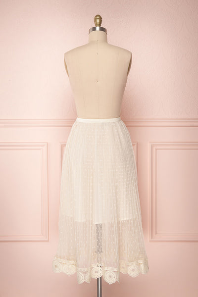 Mihiroa Cream Pleated Mesh Polka Dot Skirt | Boutique 1861 6