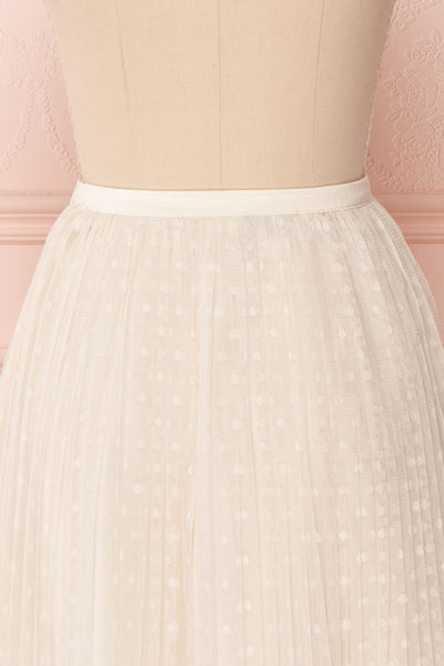 Mihiroa Cream Pleated Mesh Polka Dot Skirt | Boutique 1861 7