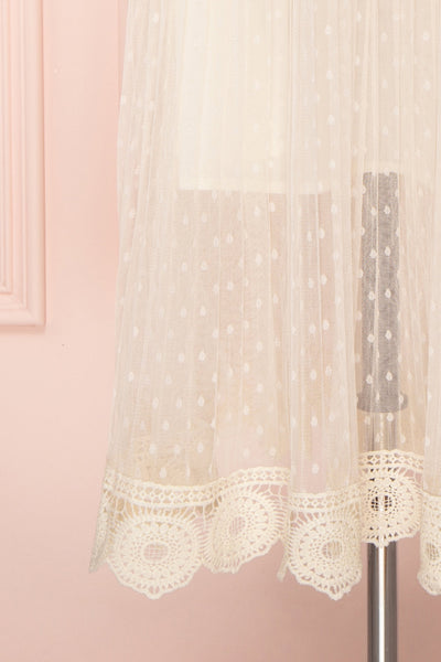 Mihiroa Cream Pleated Mesh Polka Dot Skirt | Boutique 1861 2