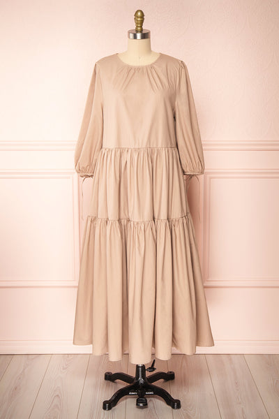 Mikki Beige Wide Layered Long Sleeve Dress | Boutique 1861 front view