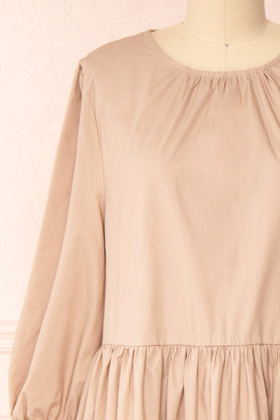 Mikki Beige Wide Layered Long Sleeve Dress | Boutique 1861 front close-up