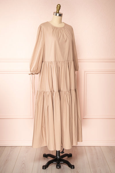 Mikki Beige Wide Layered Long Sleeve Dress | Boutique 1861 side view