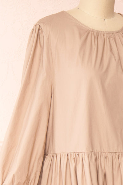 Mikki Beige Wide Layered Long Sleeve Dress | Boutique 1861 side close-up