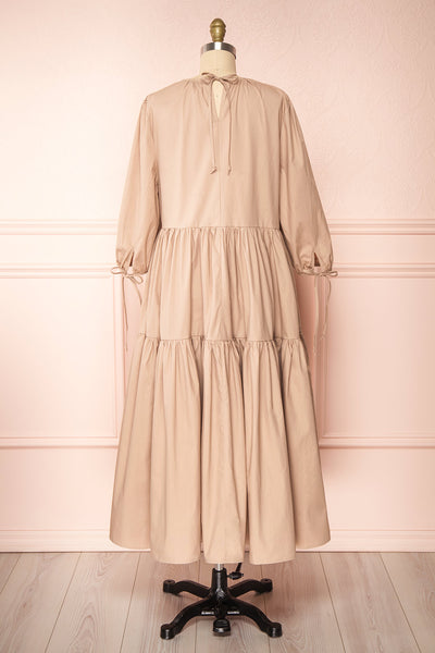 Mikki Beige Wide Layered Long Sleeve Dress | Boutique 1861 back view