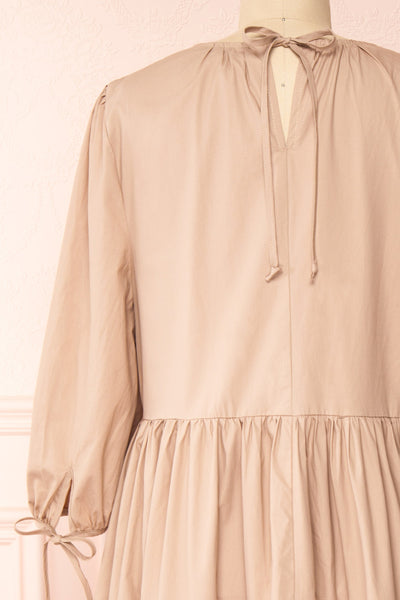 Mikki Beige Wide Layered Long Sleeve Dress | Boutique 1861 back close-up