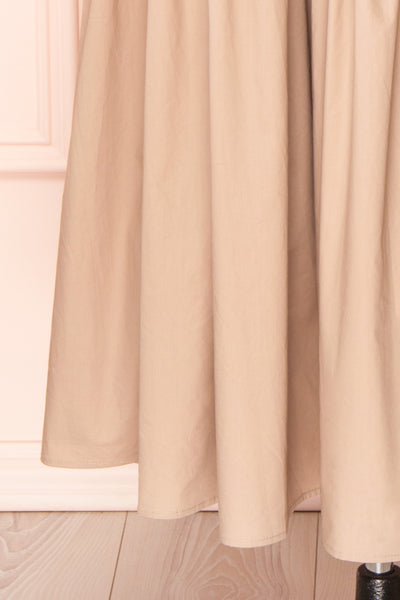 Mikki Beige Wide Layered Long Sleeve Dress | Boutique 1861 bottom