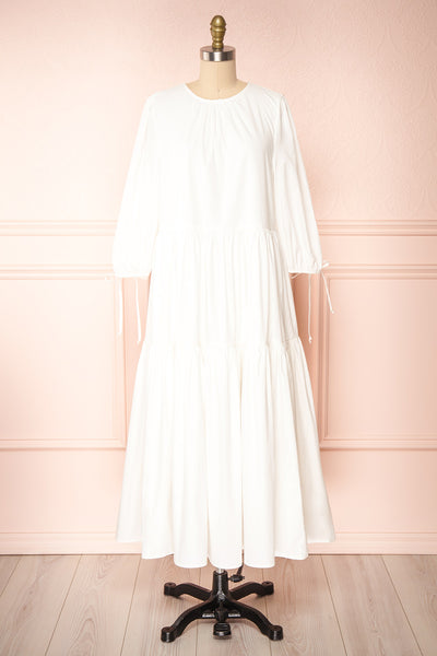 Mikki Ivory Wide Layered Long Sleeve Dress | Boutique 1861 front view