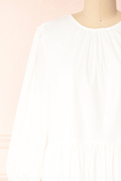 Mikki Ivory Wide Layered Long Sleeve Dress | Boutique 1861 front close-up