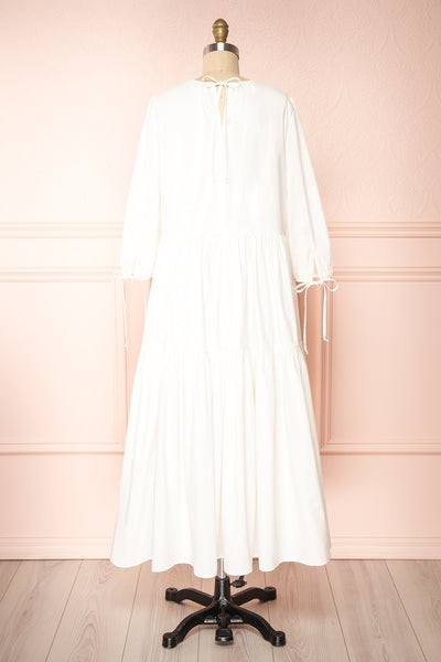 Mikki Ivory Wide Layered Long Sleeve Dress | Boutique 1861 back view