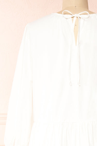 Mikki Ivory Wide Layered Long Sleeve Dress | Boutique 1861 back close-up