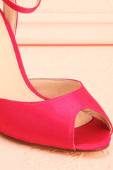 Mileena Berry Fuchsia Peep-toe Heeled Sandals | Boudoir 1861