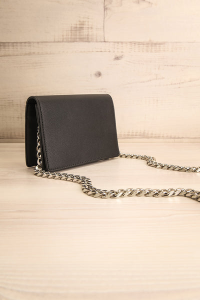 Miley Black Purse w/ Metal Chain Strap | La petite garçonne side view