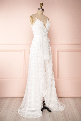 Minjee Ivory Maxi Dress | Robe Longue | Boudoir 1861 side view