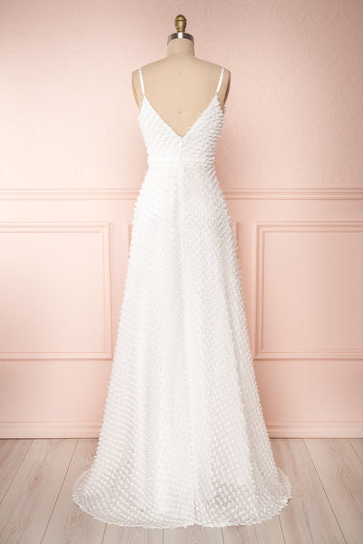 Minjee Ivory Maxi Dress | Robe Longue | Boudoir 1861 back view