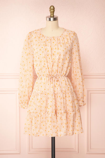 Minthe Pink Long Sleeve Floral Drawstring Dress | Boutique 1861 front view