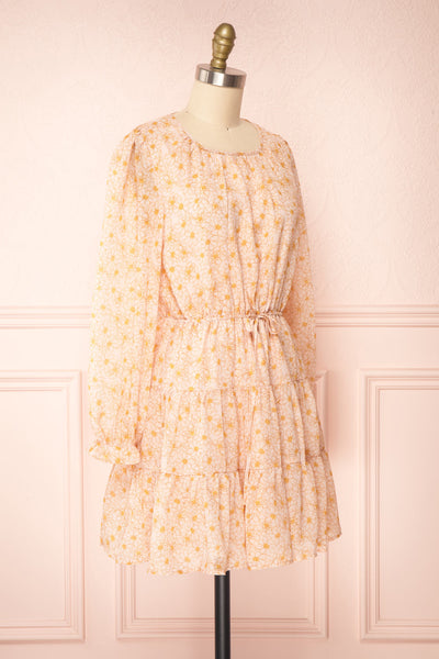 Minthe Pink Long Sleeve Floral Drawstring Dress | Boutique 1861 side view