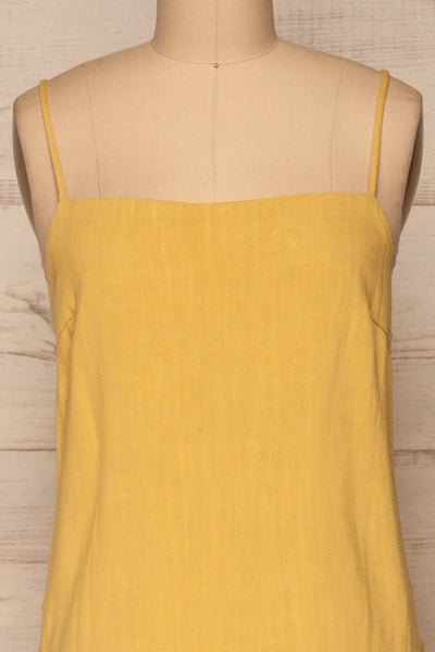 Mirandela Yellow Linen Midi Dress | La petite garçonne front close-up