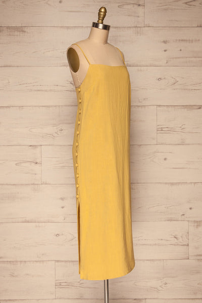 Mirandela Yellow Linen Midi Dress | La petite garçonne side view