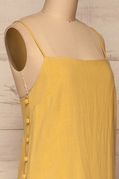 Mirandela Yellow Linen Midi Dress | La petite garçonne side close-up