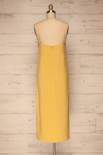 Mirandela Yellow Linen Midi Dress | La petite garçonne back view