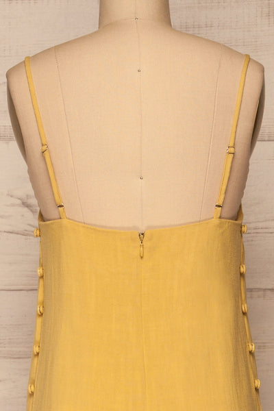 Mirandela Yellow Linen Midi Dress | La petite garçonne back close-up