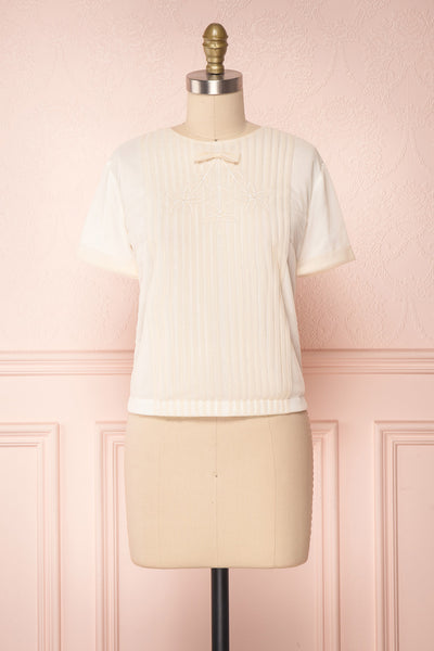 Miyama Cream Organza Pleated Short Sleeved Blouse | Boutique 1861 1