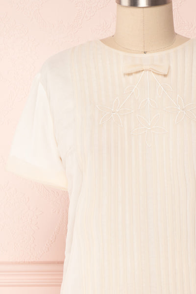 Miyama Cream Organza Pleated Short Sleeved Blouse | Boutique 1861 2