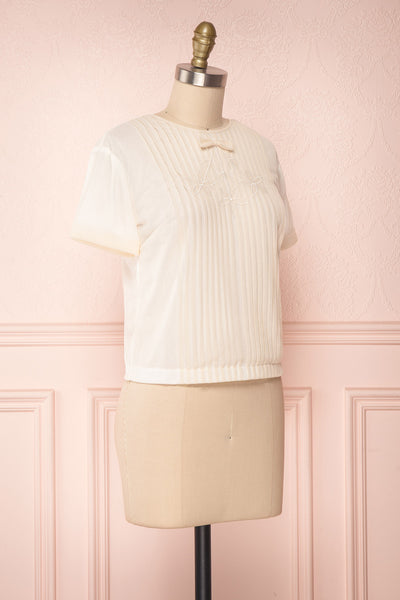 Miyama Cream Organza Pleated Short Sleeved Blouse | Boutique 1861 3