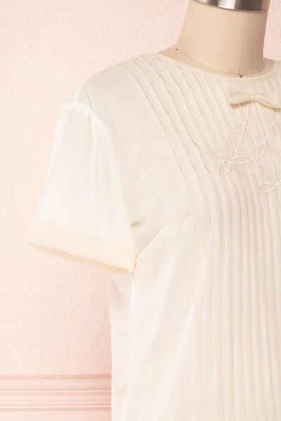 Miyama Cream Organza Pleated Short Sleeved Blouse | Boutique 1861 4