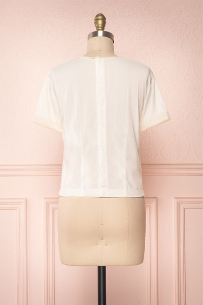 Miyama Cream Organza Pleated Short Sleeved Blouse | Boutique 1861 5