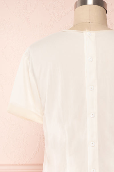 Miyama Cream Organza Pleated Short Sleeved Blouse | Boutique 1861 6
