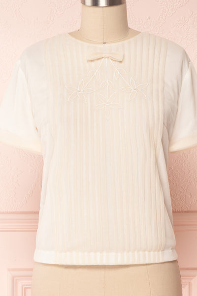 Miyama Cream Organza Pleated Short Sleeved Blouse | Boutique 1861 8