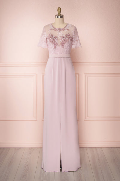 Moncha Lilac Purple Mermaid Gown with Lace & Slit | Boutique 1861